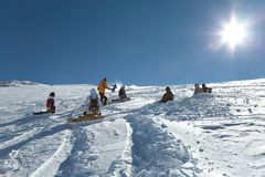 Skiing slopes in sunshine Stock Photos