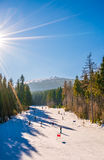 Skiing on the slopes of Szrenica Stock Images