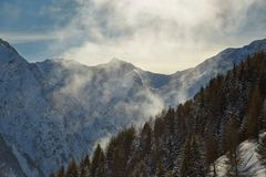Skiing slopes from the top Stock Images