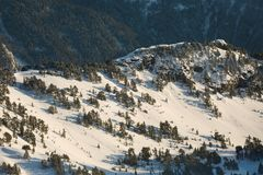 Skiing slopes from the top Royalty Free Stock Photo