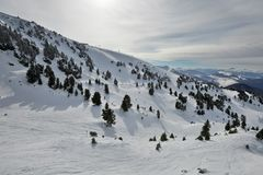 Skiing slopes from the top Royalty Free Stock Images