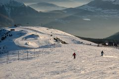 Skiing slopes from the top Royalty Free Stock Photos