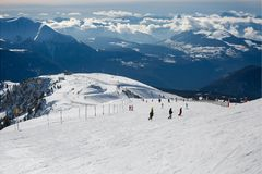 Skiing slopes from the top Stock Photo