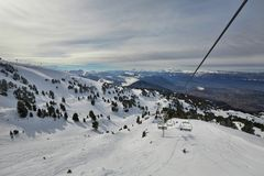 Skiing slopes from the top Royalty Free Stock Image
