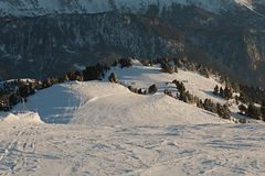 Skiing slopes from the top Stock Image