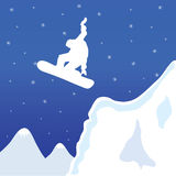 Skiing and snowboard in winter vector illustration Royalty Free Stock Photos