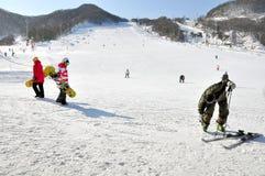 Skiing and snowboarding Stock Photos