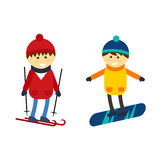 Skiing and snowboarding boy vector illustration. Stock Photography