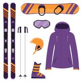 Skiing and snowboarding equipment, set. Skis, ski poles, snowboard, helmet, glasses, boots, jacket. Winter equipment icons. Vector. Skiing and snowboarding Royalty Free Stock Photos