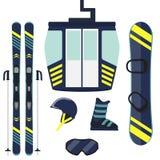 Skiing and snowboarding equipment, set. Skis, ski poles, snowboard, helmet, glasses, boots, ski lift cabin. Winter equipment icons. Vector illustration in flat Stock Images