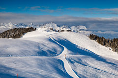 Skiing and Snowboarding in French Alps Stock Photos