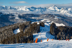 Skiing and Snowboarding in French Alps. Megeve Royalty Free Stock Image