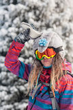 Skiing and snowboarding Royalty Free Stock Photo