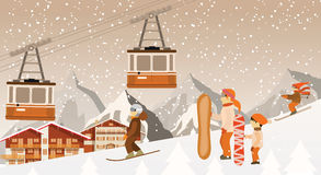Skiing and snowboarding in the mountains Royalty Free Stock Photo