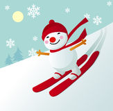 Skiing snowman Royalty Free Stock Photography