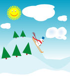 Skiing snowman. Snowman skiing on a sunny day vector illustration