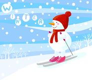 Skiing snowman Stock Images
