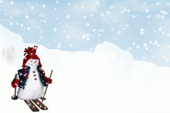 Skiing Snowman Stock Photography