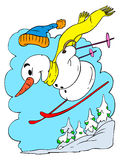 Skiing Snowman Stock Photos