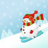 Skiing Snowman Royalty Free Stock Photos