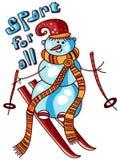 Skiing snowman Royalty Free Stock Image
