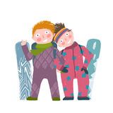 Skiing Sport Child Girl and Boy in Winter Clothes Stock Photos