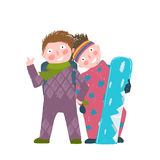 Skiing Sport Child Girl and Boy in Winter Clothes Stock Photo