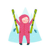 Skiing Sport Child Girl in Winter Clothes with Stock Photo
