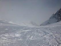 Skiing in the Stubai glacier ski resort Stock Photos