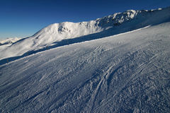 Skiing in the Swiss Alps Stock Images