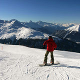 Skiing in the Swiss Alps Royalty Free Stock Photo