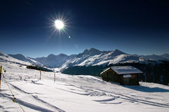 Skiing in the Swiss Alps Royalty Free Stock Images