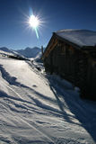 Skiing in the Swiss Alps Stock Photography