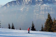Skiing in swiss Alps Stock Image
