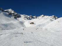 Skiing in swiss alps Royalty Free Stock Photography