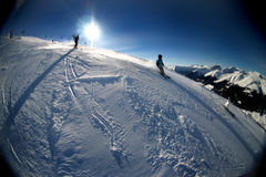 Skiing in the Swiss Mountains Royalty Free Stock Images