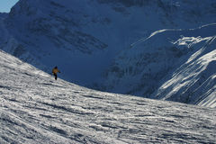 Skiing in the Swiss Mountains Royalty Free Stock Photography
