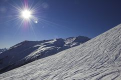 Skiing in the Switzerland alps Stock Image