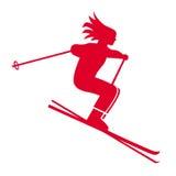 Skiing symbol. Closeup of girl skiing symbol Stock Photos