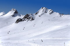Skiing on Tiefenbach glacier in Solden Stock Photography