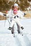 Skiing together Stock Photography