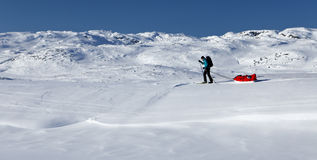 Skiing tour on the Kungsleden Royalty Free Stock Photos