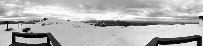 Skiing track panorama black and white Royalty Free Stock Image