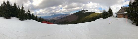 Skiing track panorama Royalty Free Stock Photos