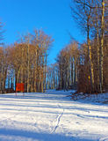 Skiing track at sunset. A skiing track through the snowy forest in West Virginia Stock Photo