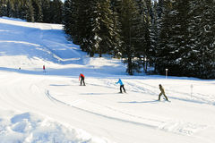 Skiing tracks in Portes du Soleil area, France Stock Images
