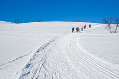 Skiing up the hill 1 Stock Images