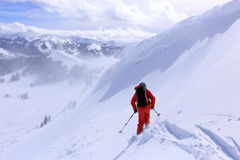 Skiing in the Utah mountains. Stock Photo