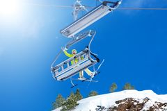 Skiing vacation - best vacation Royalty Free Stock Image