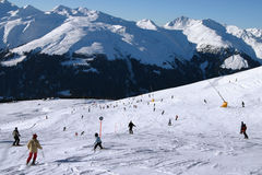 Skiing into the valley 2 Stock Image